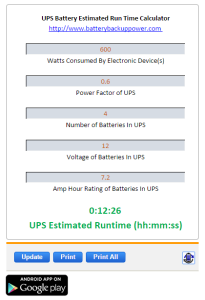 Uninterruptible Power Supply Battery Calculator-Estimator Screenshot