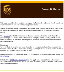UPS Shipment Delay Notice Due To East Coast Storm