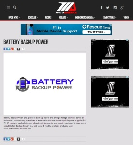 Battery Backup Power, Inc. Sponsorship of MotoAmerica