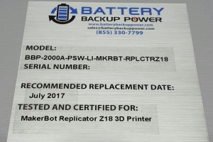 UPS For MakerBot Replicator Z18 3D Printer Label